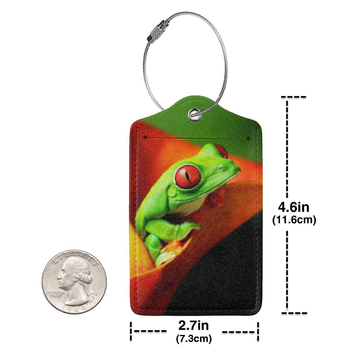 Nature Frog Luggage Tag Label Travel Bag Label With Privacy Cover Luggage Tag Leather Personalized Suitcase Tag Travel Accessories