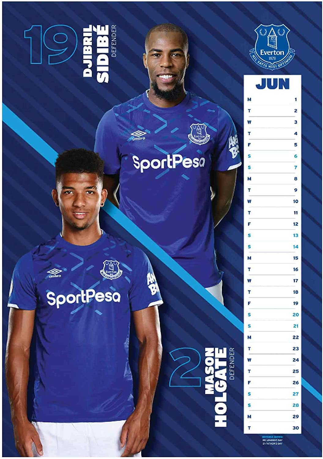 Official Everton FC 2020 Football Calendar A3