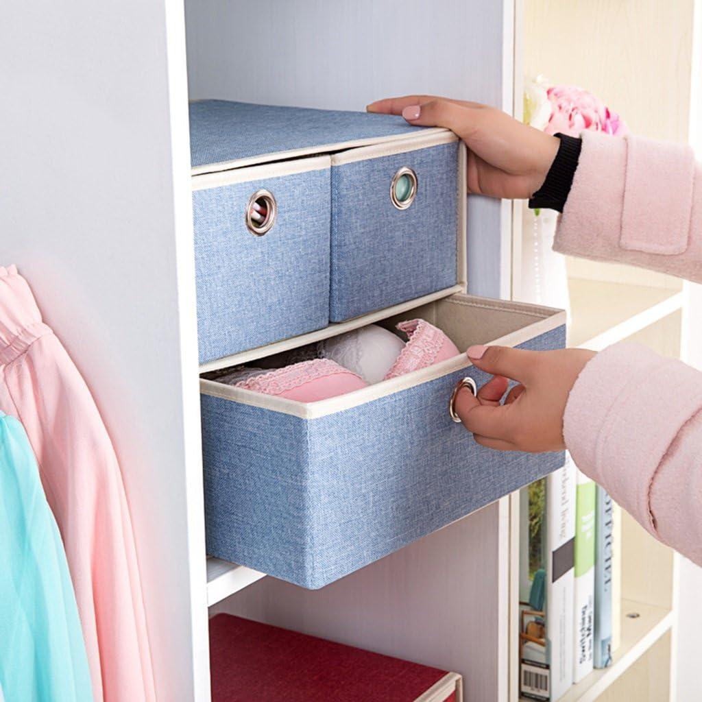Brilliant firm Sous-v/êtements tiroir bo/îte de rangement en tissu bo/îte de finition bo/îte de rangement pliable Color : Blue, Size : 25*29*26cm
