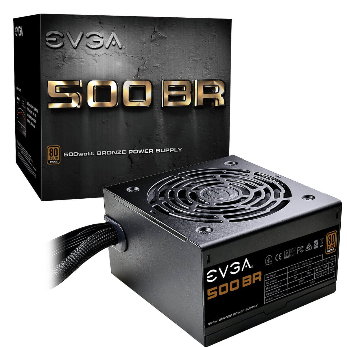 EVGA 500 BR, 80+ Bronze 500W, 3 Year Warranty, Power Supply 100- BR-0500-K1 100-BR-0500-K1