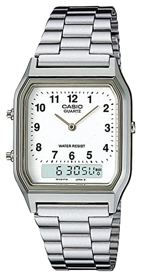Casio Collection AQ-230A-7BMQYES, Reloj Analógico-Digital para Hombre, Blanco: Casio: Amazon.es: Relojes