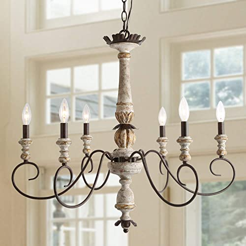 LALUZ Farmhouse Chandelier, Dining Room Lighting Fixtures Hanging in Rustic Wood and Rusty Bronze Finish, Shabby Chic French Country Pendant for Kitchen Island, Bedrooms, Foyer