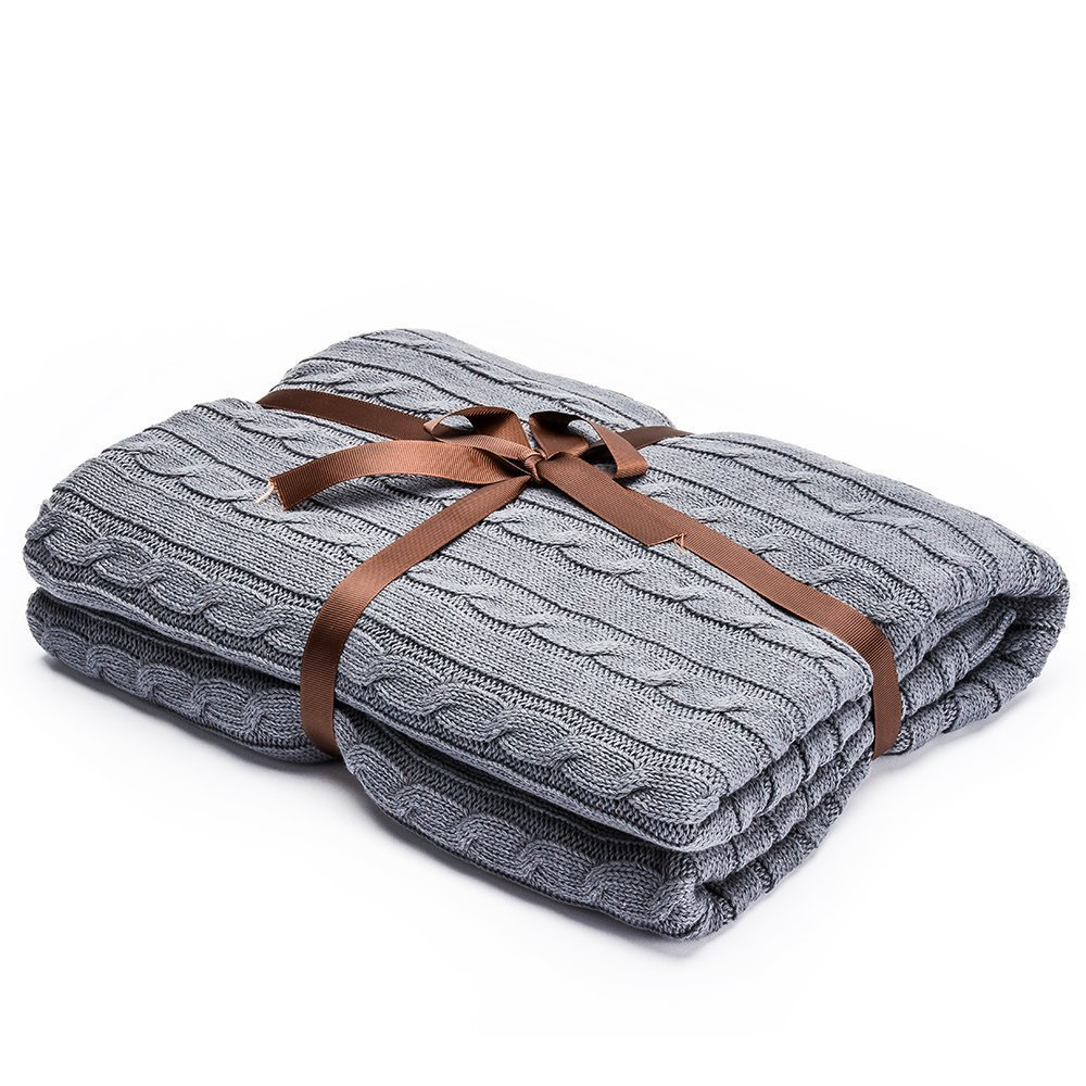 LakeMono Luxury Handmade Super Soft Crochet Fabric Sleeping Throw Comfortable Warm Oversized Sofa Quilt Living Room Blanket Fit for Adult and Teens Resting Reading Apply on All Seasons (Light Grey)