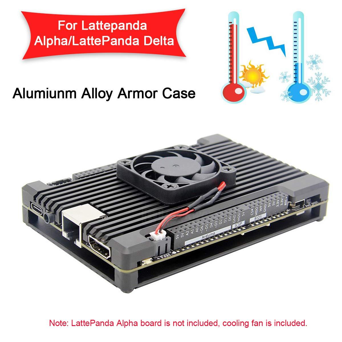 MakerFocus Aluminum Alloy Armor Case for LattePanda Alpha 864 or LattePanda Delta, Passive Cooling Enclosure with LattePanda Cooling Fan 4007