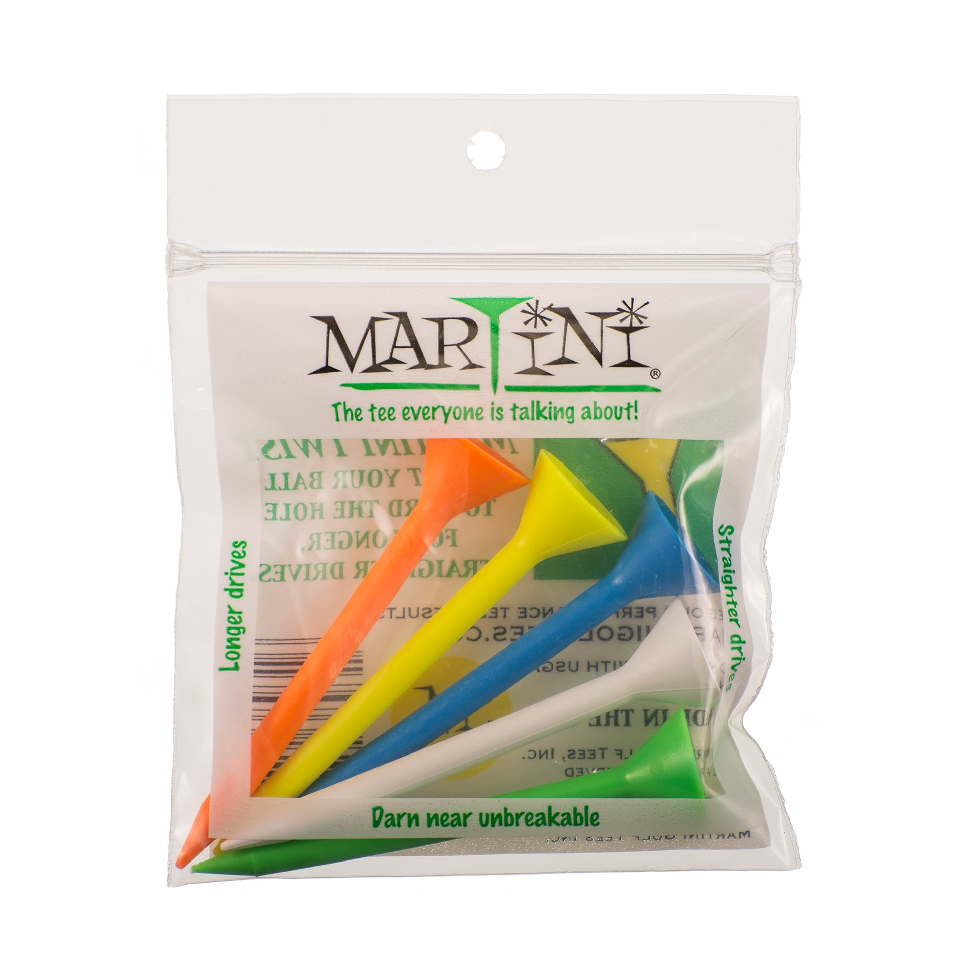 ProActive Sports Martini Golf 3-1/4'' Durable Plastic Tees 5-Pack (Assorted Colors)