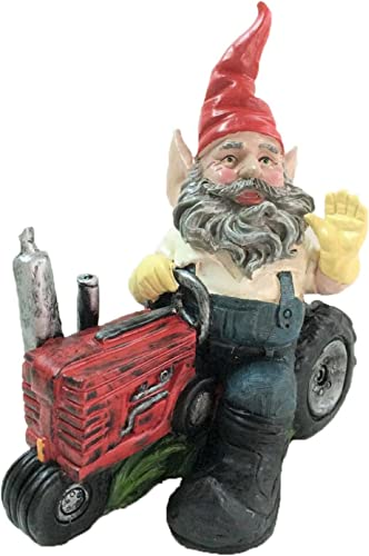 "Homestyles ""Born to Ride"" 36468 Farmer Gardener Gnome on Tractor 12″H Garden Statue and Vehicle Figure"