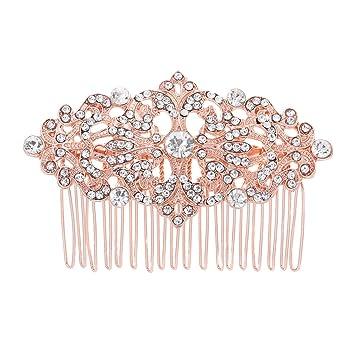 2 pcs Rose gold Hair Comb,Hair Comb,brass hair comb,bridal hair comb,filigree hair comb,wedding hair comb,flower hair comb,hair accessories
