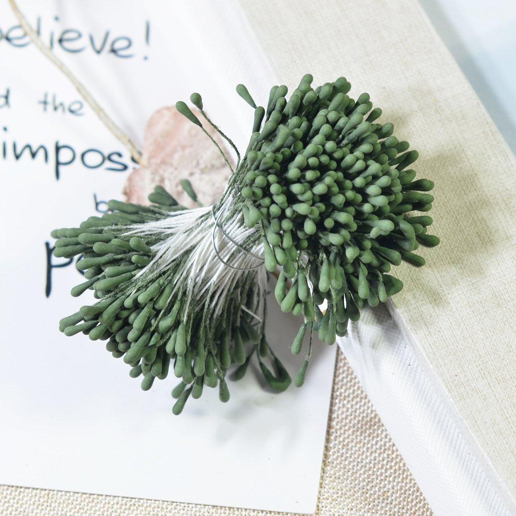 Army Green Bundle 1.5-2mm Matte Double Head Flower Stamen Pistil for Wedding Decoration
