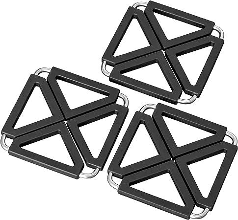Oishii Heatmaster 12x12-22x22cm Resistenti al Calore Set di 3 Sottopentola allungabile Colore Negro Silicone e Inox