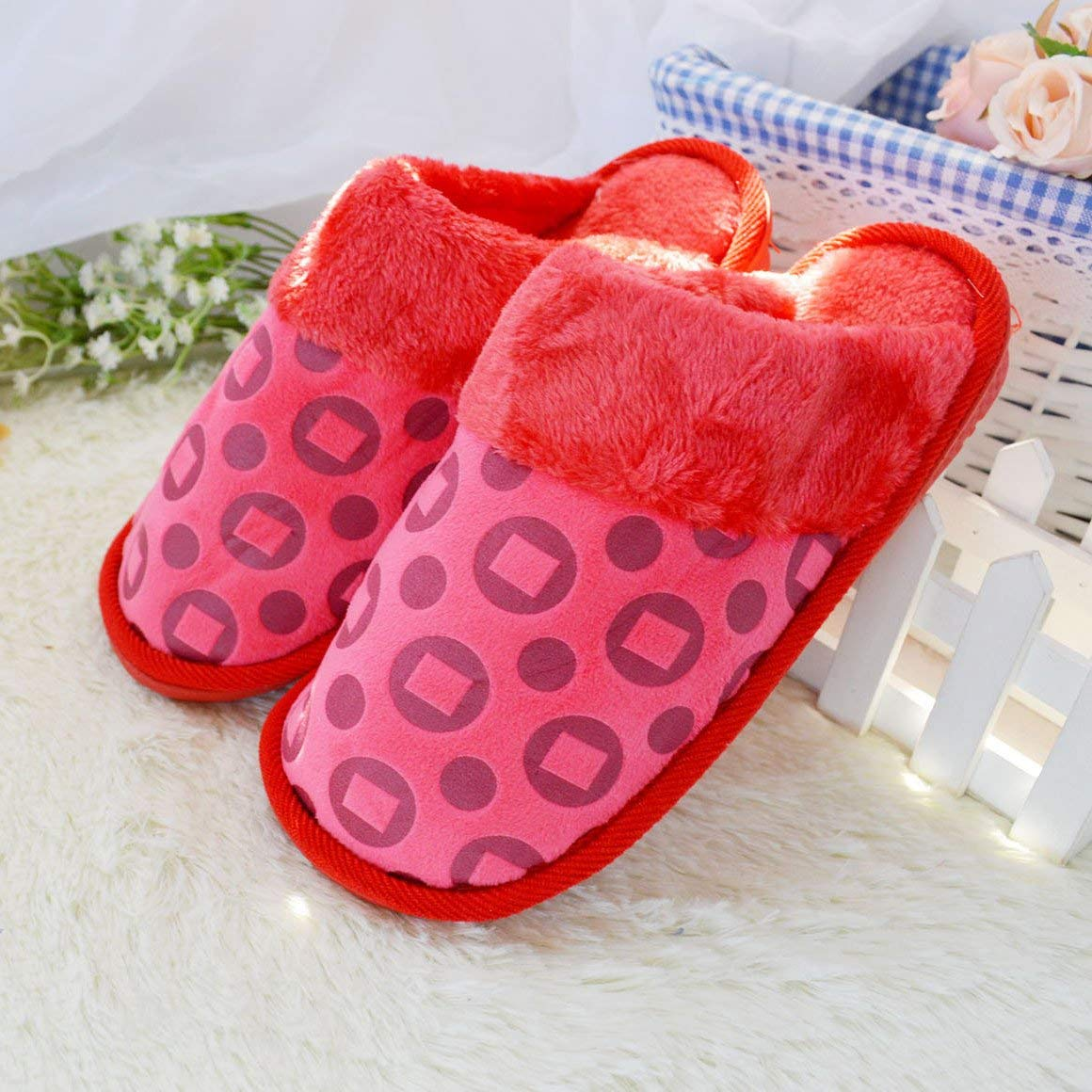 1 JaHGDU Ladies Casual Slippers Indoors to Keep Warm in Autumn and Winter Cotton Slippers Red Large Slippers for Women
