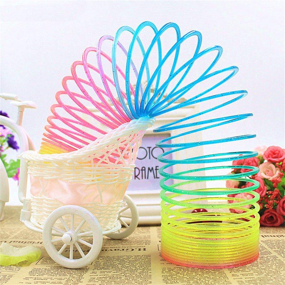 Oun Nana Big Slinky Toy Plastic Magic Rainbow Springs Coil Boxed Long Slinkies Toys Bulk Clorful Fun 3x6 inch Color Spring Glitter
