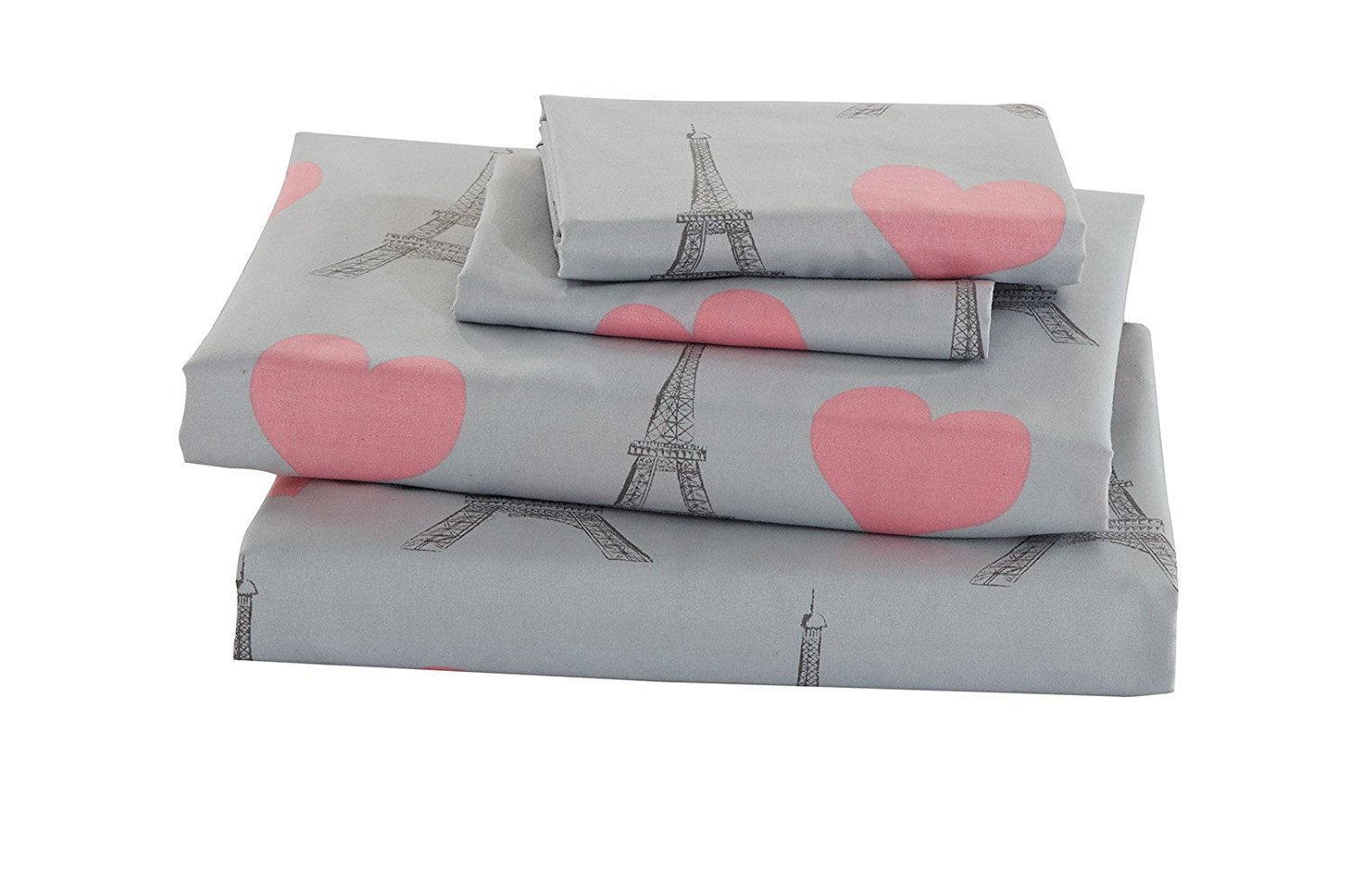 Elegant Home Multicolors Pink Grey Paris Eiffel Tower Bonjour Design with Hearts Fun 4 Piece Printed Full Size Sheet Set with Pillowcases Flat Fitted Sheet for Girls/Kids/Teens # Paris (Full Size)