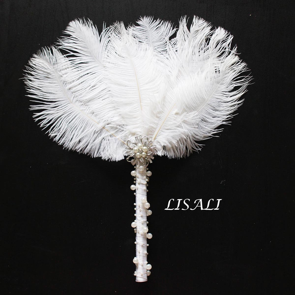 LISALI 12'' Ostrich Feather Bouquet, Bridesmaid Vintage Brooch Bouquet, Fan Peacock Handfasting, 20s Pearl Feather Fan