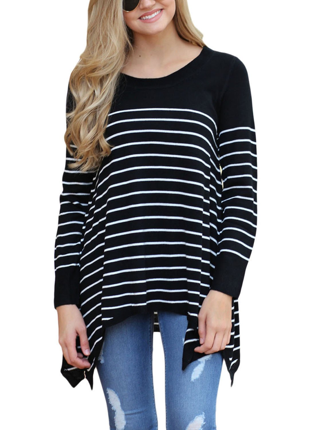 Sidefeel Women Round Neck Stripes Loose Knit Sweater Pullover Tops X-Large Black