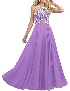 0dad2cc5914 Firose Women s Long Prom Dresses 2019 Scoop Neckline Beaded A Line Formal  Dress