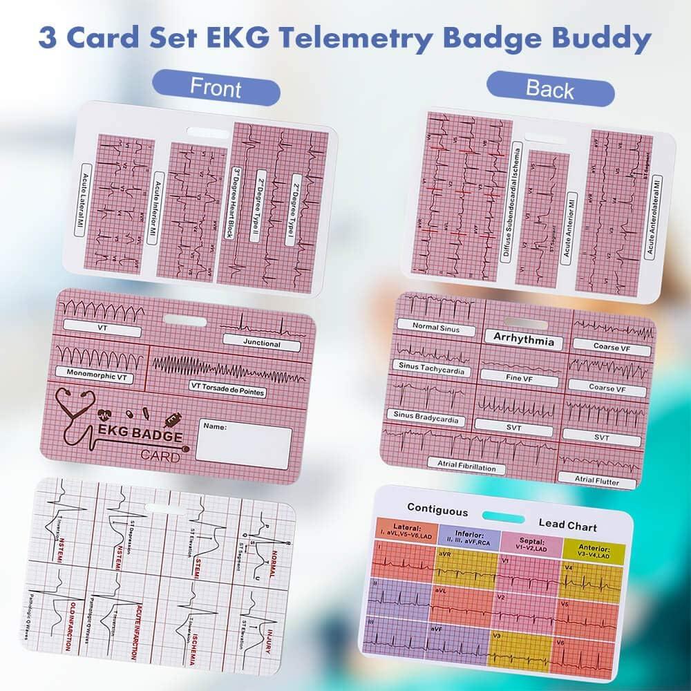 Lisol EKG Badge Card Cardiac Badge Buddy ECG Rate Cards Double ...