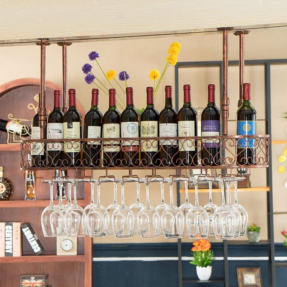 WJC ぶら下げゴブレットラックワインラッククリエイティブぶら下げカップホルダーバーバー逆さワイングラスラックぶら下げワインカップホルダー (Color : Bronze, Size : 60x35cm)
