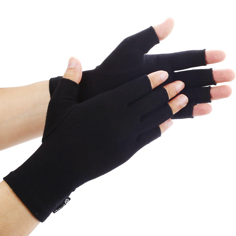 Duerer Arthritis Gloves Women Men for RSI, Carpal Tunnel, Rheumatiod, Tendonitis, Fingerless Hand Thumb - Compression Gloves Small Medium Large XL for Pain Relief. (DarkBlack, M)