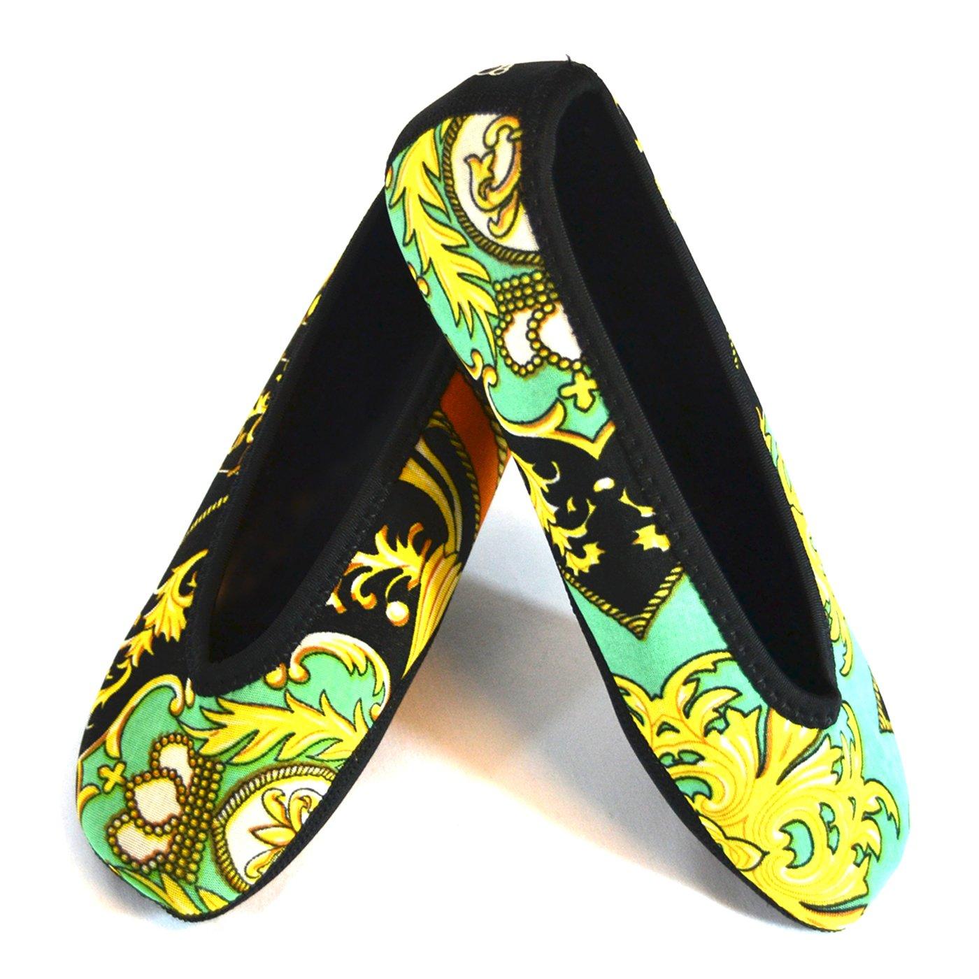 Nufoot Ballet Flats Women's Shoes, Best Foldable & Flexible Flats, Slipper Socks, Travel Slippers & Exercise Shoes, Dance Shoes, Yoga Socks, House Shoes, Indoor Slippers, Green Baroque, Extra Large