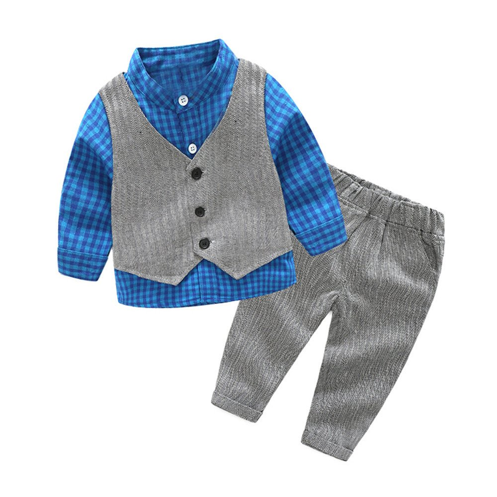 c5f5f01b2781 ADORABLE:traditional plaid stand collar shirt with uniform formal vest and  grey pinstripe pants,so gentleman,great gift for your baby!