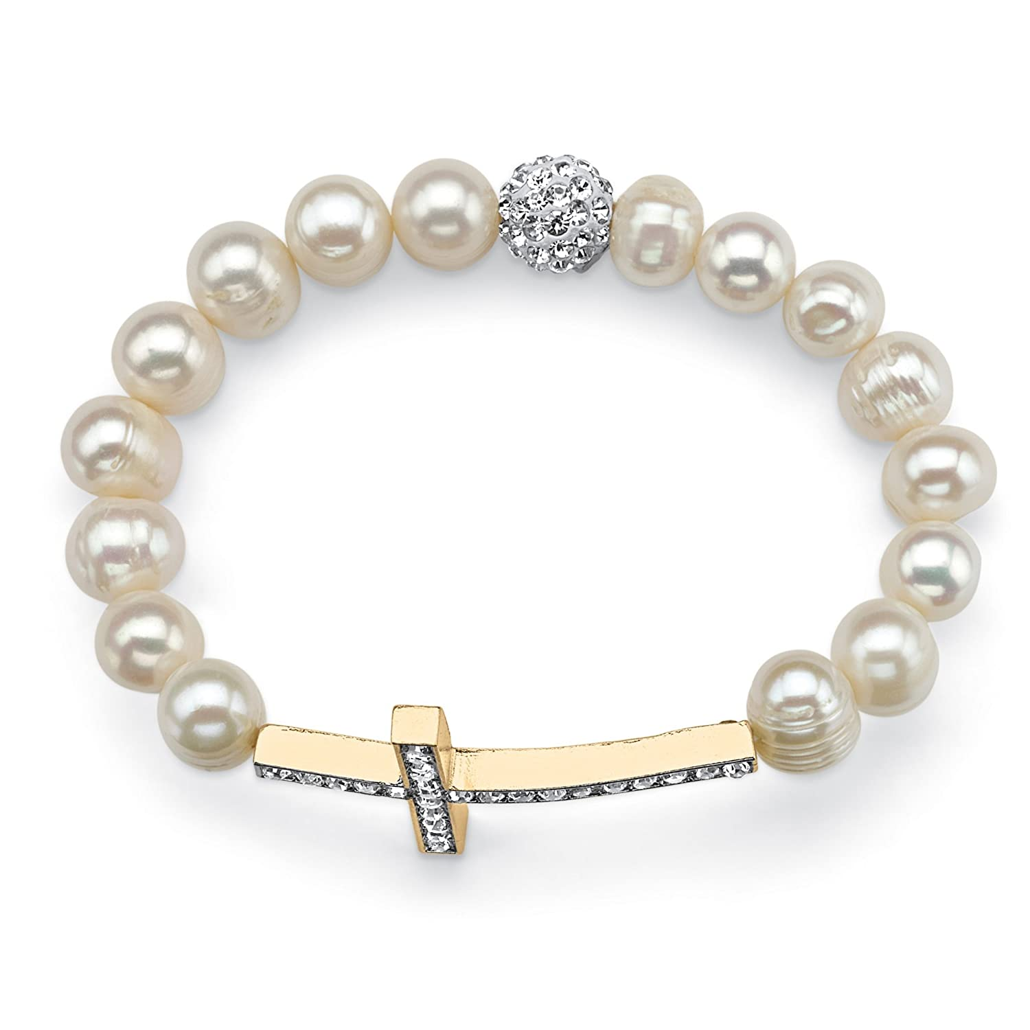 Genuine White Cultured Pearl and Crystal Yellow Gold Tone Horizontal Cross Stretch Bracelet 8