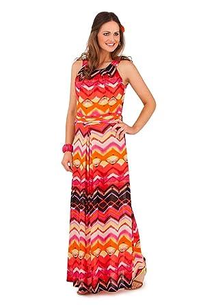 dcf00db12 Lora Dora para mujer rayas Zig Zag tiras Maxi vestido largo verano señoras  tamaño UK 8 - 16 naranja naranja 40-42  Amazon.es  Ropa y accesorios