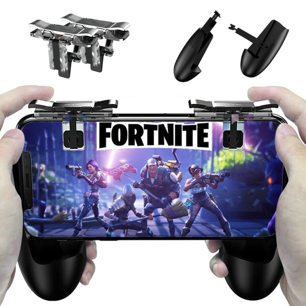 Fortnite PUBG Mobile Controller - Cinsey Game Controller, Cellphone Game Trigger, Ergonomic Design Handle Holder Handgrip Stand for 5.3-6.5inch Android IOS Phones for Battle Royale/Fortnite/PUBG