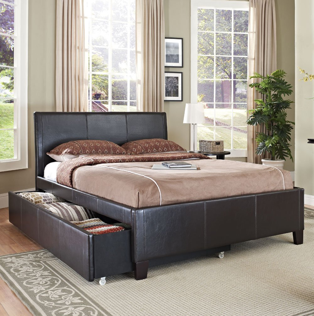 amazoncom standard furniture new york upholstered trundle bed in brown twin kitchen u0026 dining