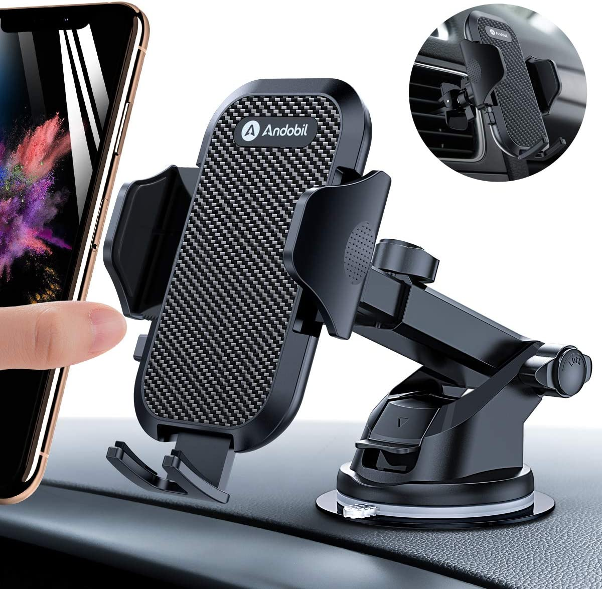 Andobil Car Phone Mount Easy Clamp, Ultimate Hands-Free Phone Holder for Car Dashboard Air Vent Windshield, Super Suction Cup, Compatible for iPhone 11/11 Pro/8 Plus/8/X/XR/XS/7 Plus Samsung S10/S9/S8 71O2MPqTUjL