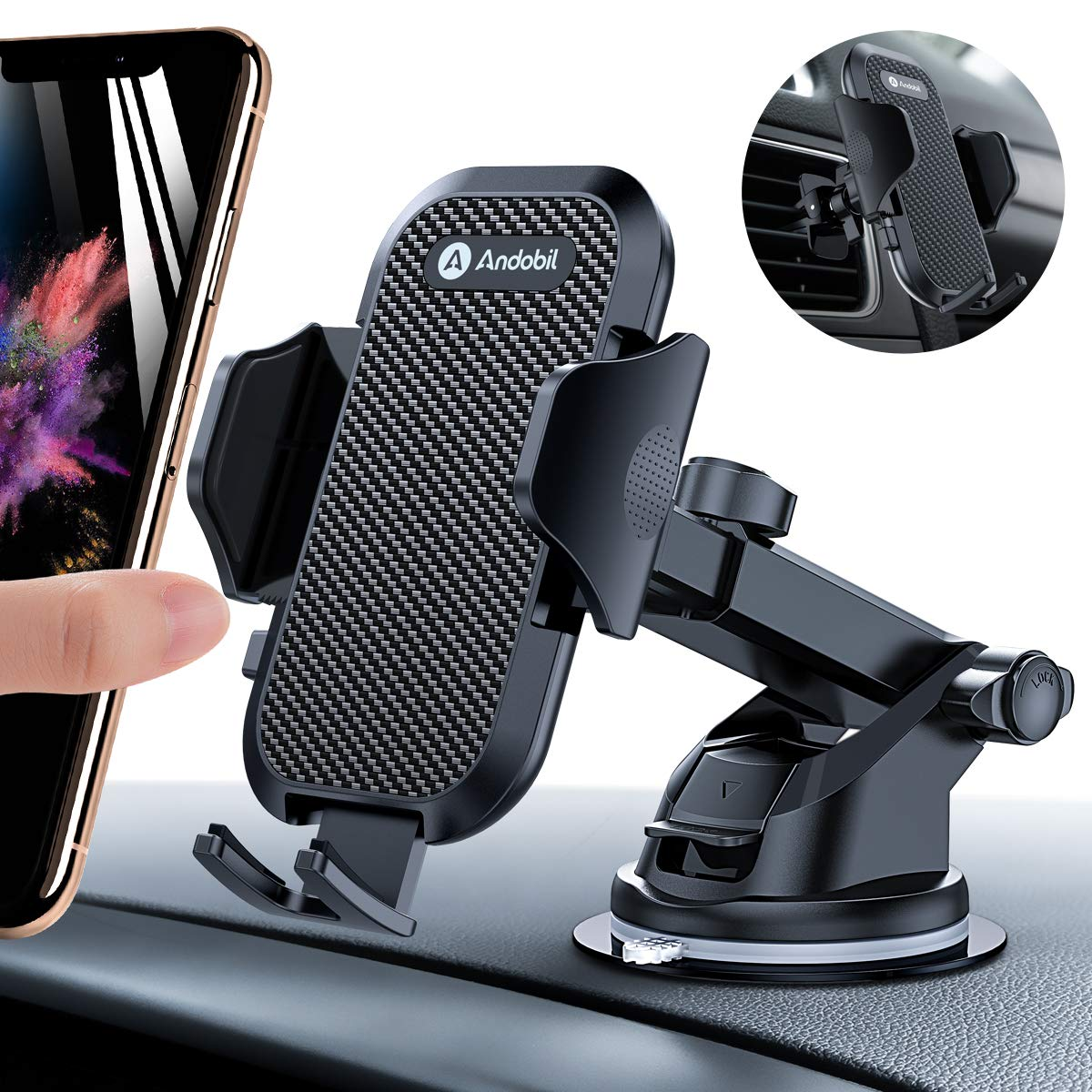 Andobil Car Phone Mount Easy Clamp, Ultimate Hands-Free Phone Holder for Car Dashboard Air Vent Windshield, Super Suction Cup, Compatible for iPhone 11/11 Pro/8 Plus/8/X/XR/XS/7 Plus Samsung S10/S9/S8 by andobil