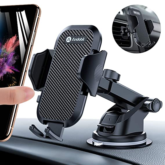 brand new ff65b 9fe14 Andobil Car Phone Mount Easy Clamp, Ultimate Hands-Free Phone Holder for  Car Dashboard Air Vent Windshield, Super Suction Cup, Compatible for iPhone  8 ...