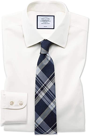 Camisa sin Plancha Color Crema de Popelina Slim fit sin Plancha: Amazon.es: Ropa y accesorios