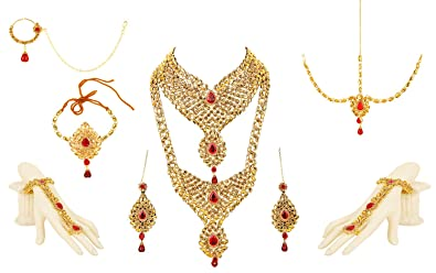 Buy Bling N Beads Red 18K Gold Plated Jewellery Set For Women Online