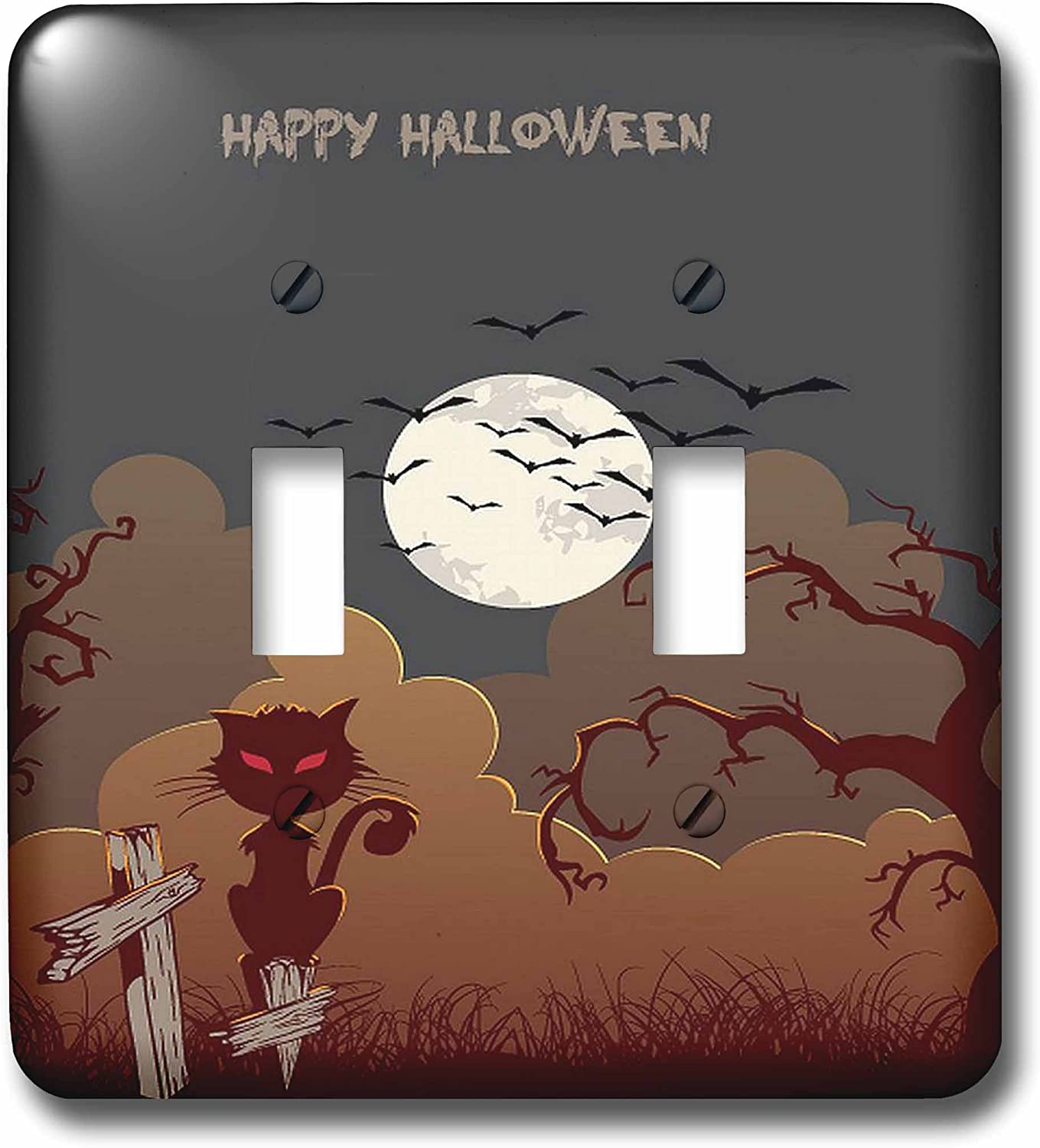3drose Lsp 65468 2 Halloween Night With Cat Under A Moon Double Toggle Switch Switch Plates