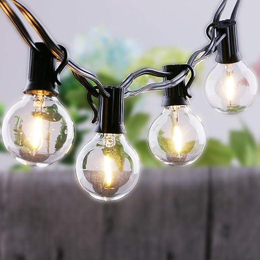 ZHAO YING Cadena de luz Solar G40 bajo Voltaje 5V3V Luces conectables al Aire Libre/Interiores for Bodas Navidad Camping RV Jardín Patio Gazebo Porche Pérgola, 25 Bombillas (Color : Black): Amazon.es: Hogar