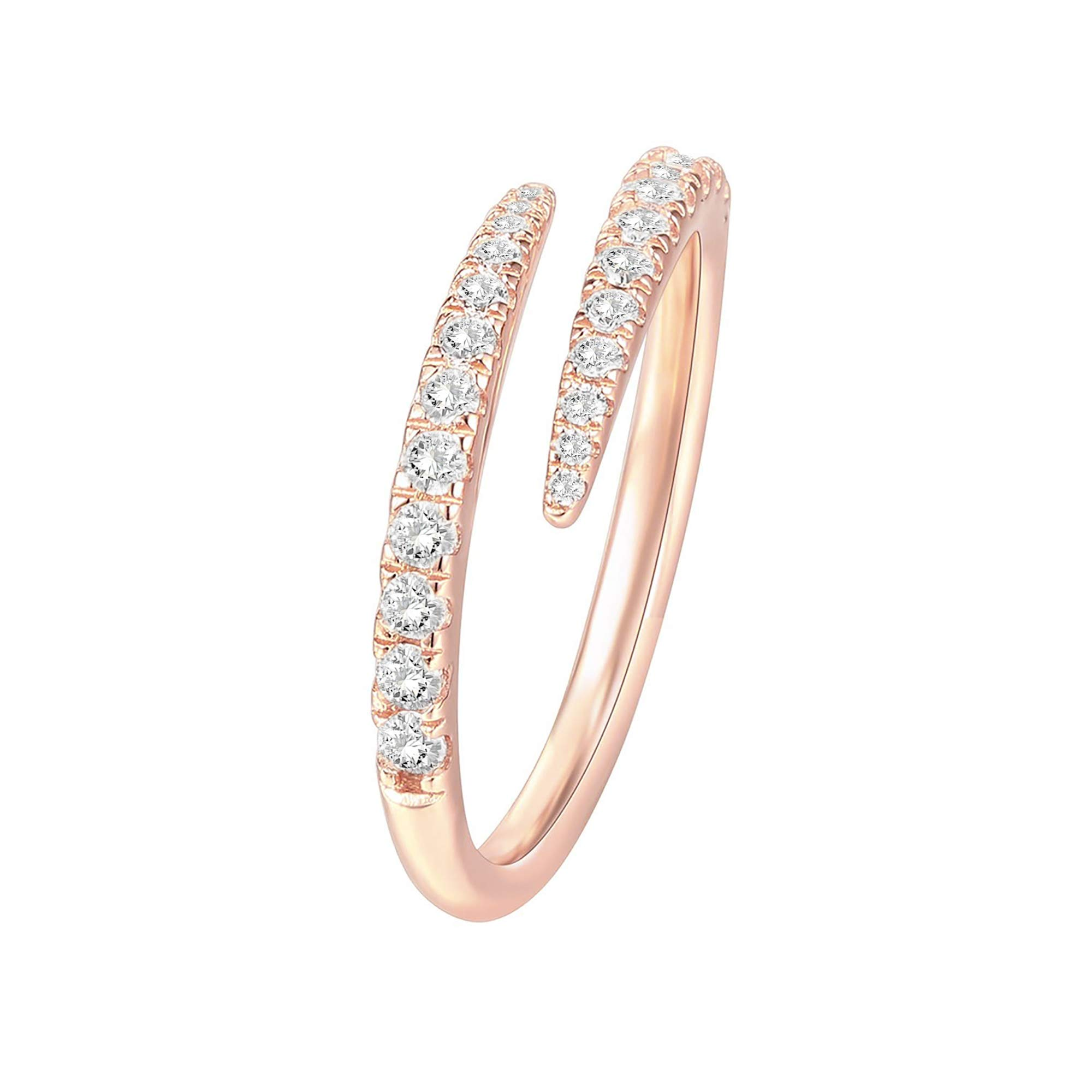 PAVOI 14K Gold Plated Sterling Silver Cubic Zirconia Open Twist Eternity Band for Women