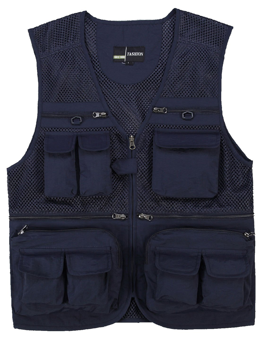 Zhusheng Men's Mesh Multi Pockets Photography Hunting Fly Fishing Outdoor Quick Dry Vest Breathable Waistcoat Jackets (Small(Asia Tag XL), Navy Blue)