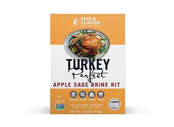 Fire & Flavor All Natural Turkey Perfect Apple Sage Brine Kit, Perfect for Roasting, Grilling, Smoking, and Frying 16.6 Ounces