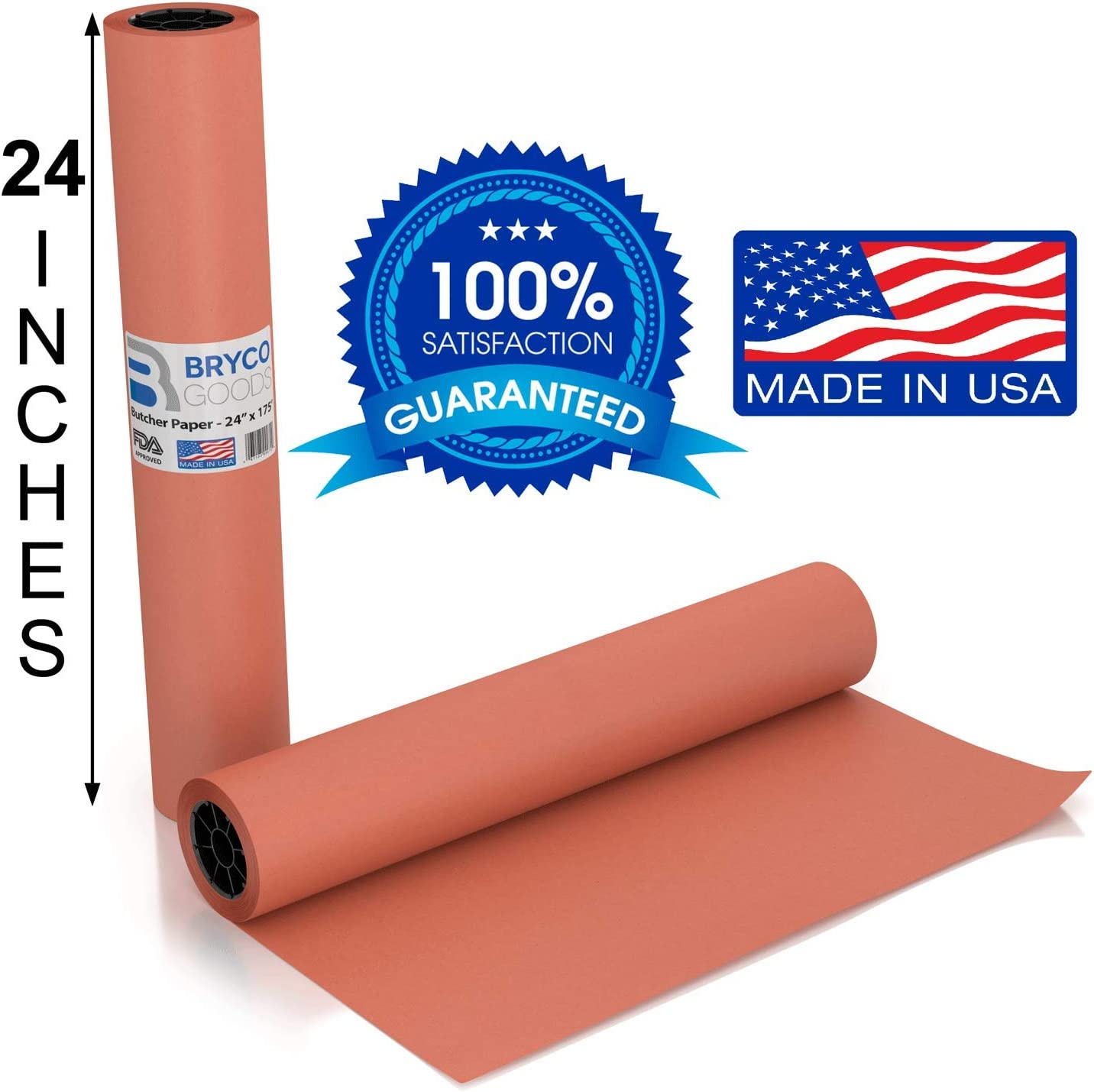 Pink Kraft Butcher Paper Roll - Long 24 Inch x 175 Feet (2100 Inch) - Food Grade FDA Approved – Great Smoking Wrapping Paper for Meat of All Varieties – Made in USA – Unbleached, Unwaxed & Uncoated