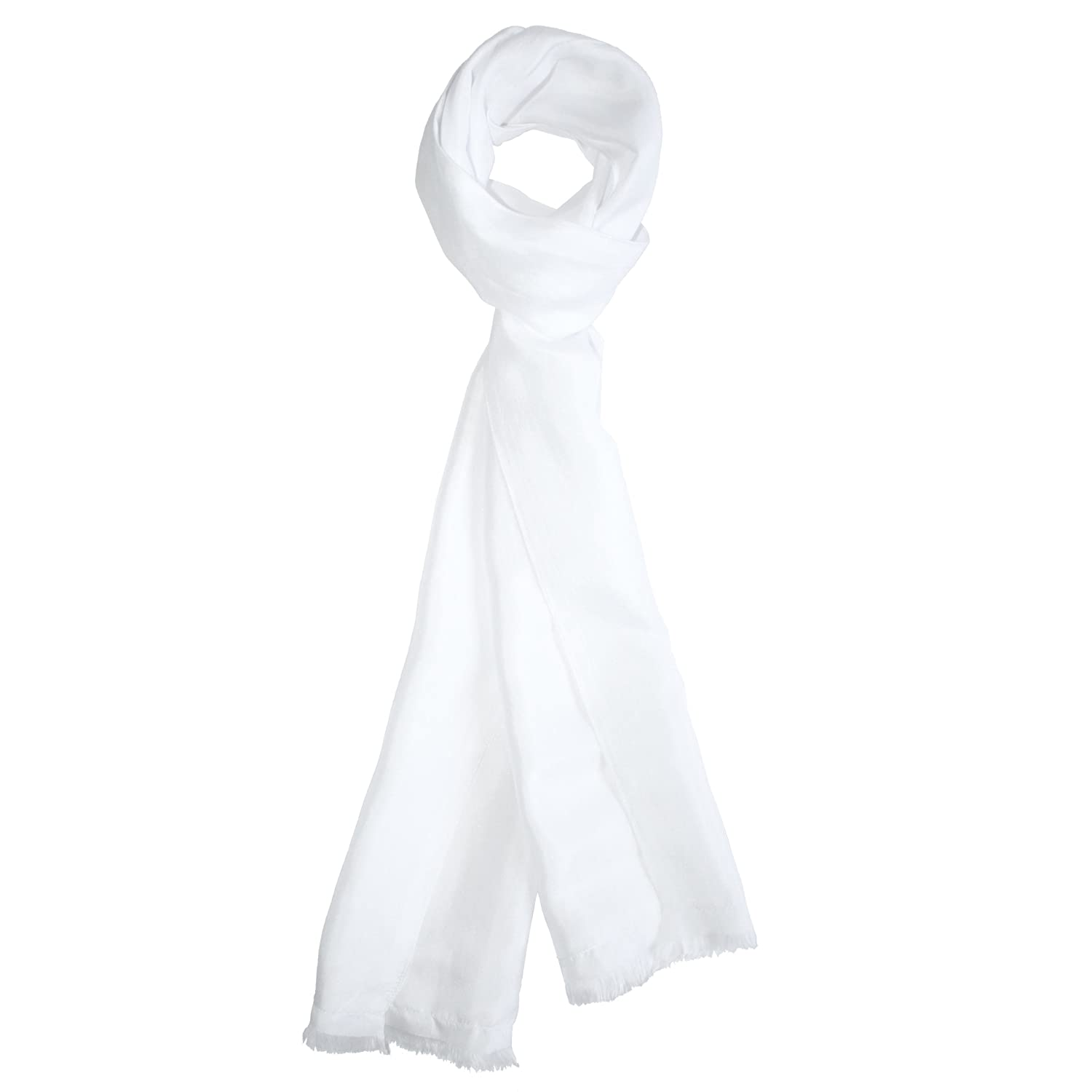 Dashing White Silk Aviator Scarf by ROYAL SILK® 1356