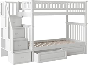 Atlantic Furniture Columbia Staircase Bunk Bed with Raised Panel Bed Drawers, Twin/Twin, White