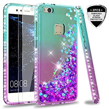 LeYi Funda Huawei P10 Lite Silicona Purpurina Carcasa con [2-Unidades Cristal Vidrio Templado],Transparente Cristal Bumper Telefono Gel Fundas Case ...