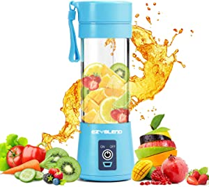 EZ Blend Portable Blender – Blender for Shakes & Smoothies – Juicer Cup – USB Rechargeable Travel Blender – Single Serve Blender with Portable Tumbler – 380 ml Blender (Blue)