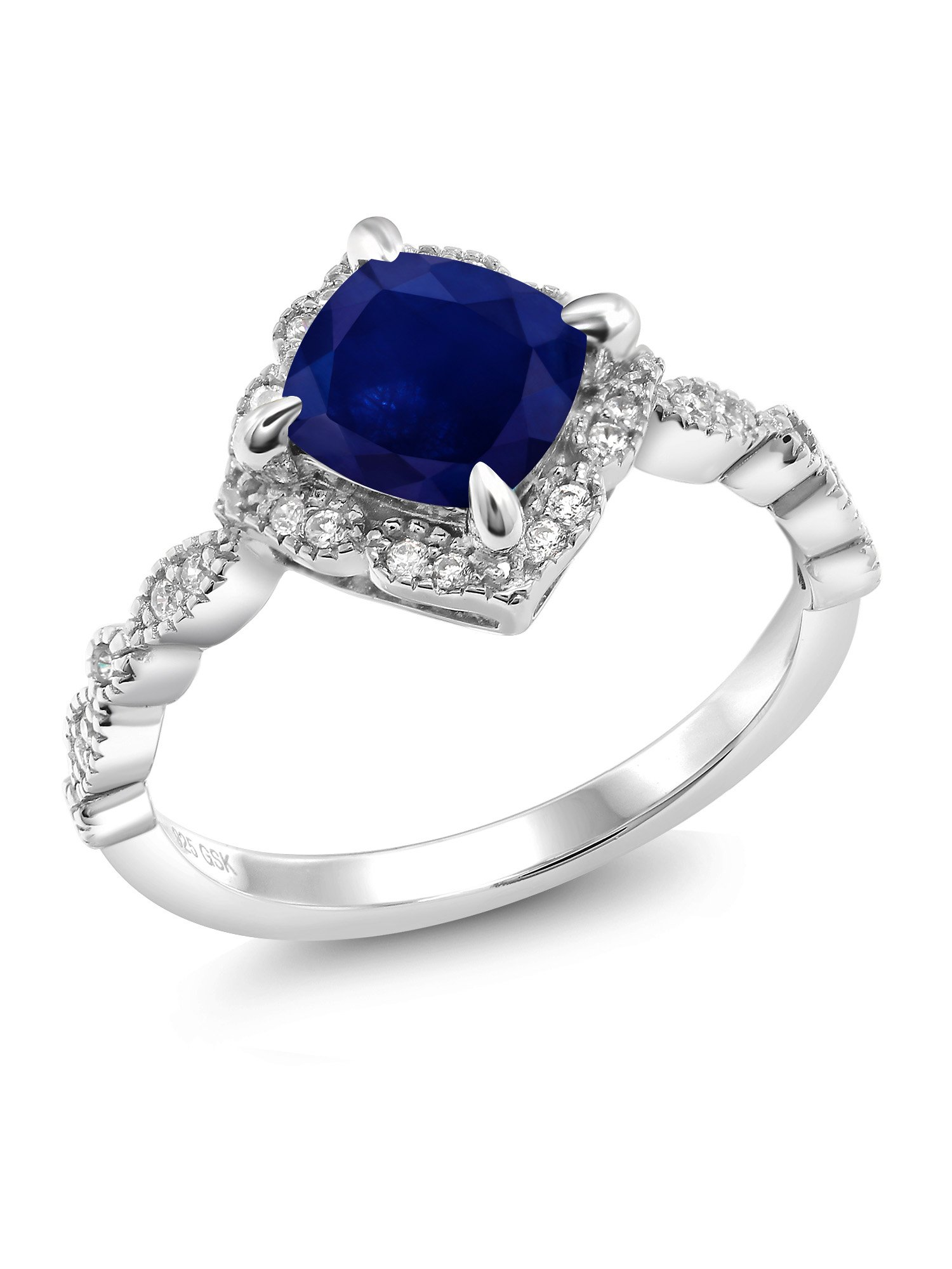 925 Platinum Plated Sterling Silver Blue Sapphire Women's Ring (2.34 Ct Cushion Cut (Size 6)