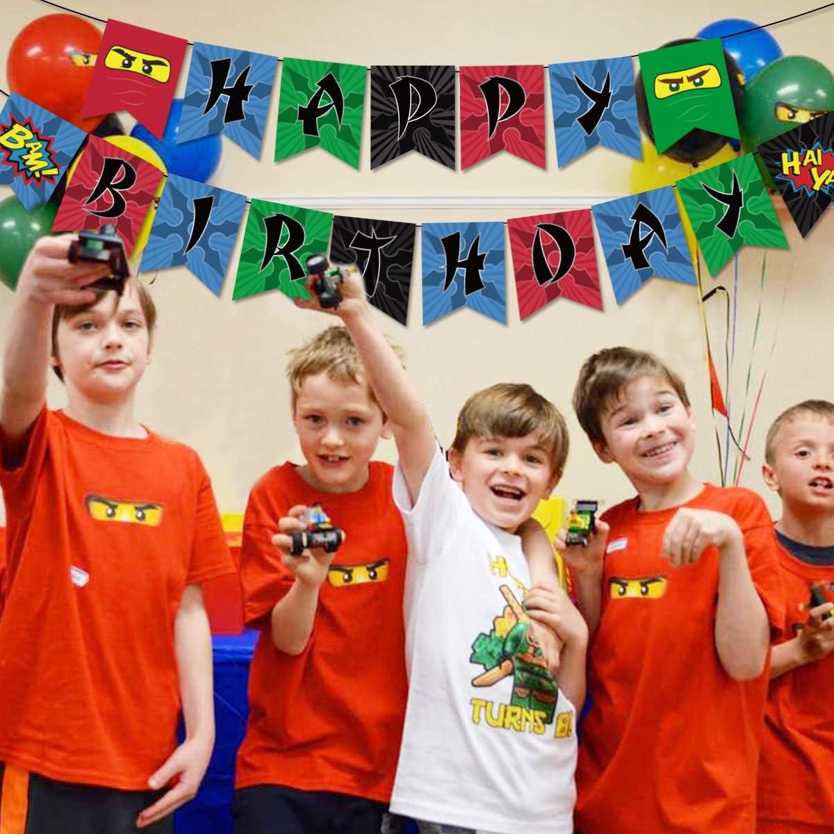 Ninja Happy Birthday Banner Birthday Party Decorations Ninja Party Supplies for Boys Ninja Warrior Party Supplies
