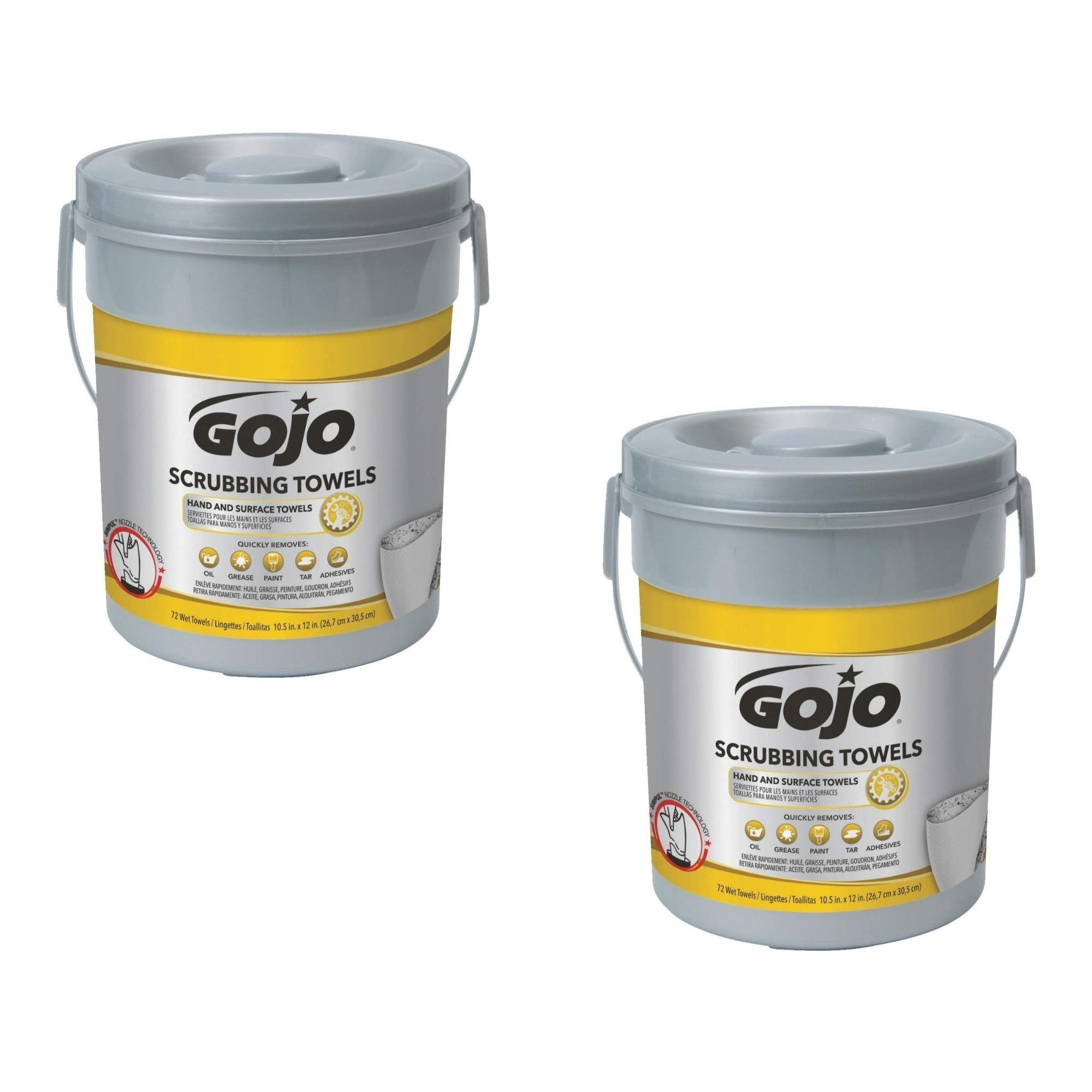 Gojo Dual Textured Scrubbing Wipes Canister 72 Wipes (2 Pack) (2)