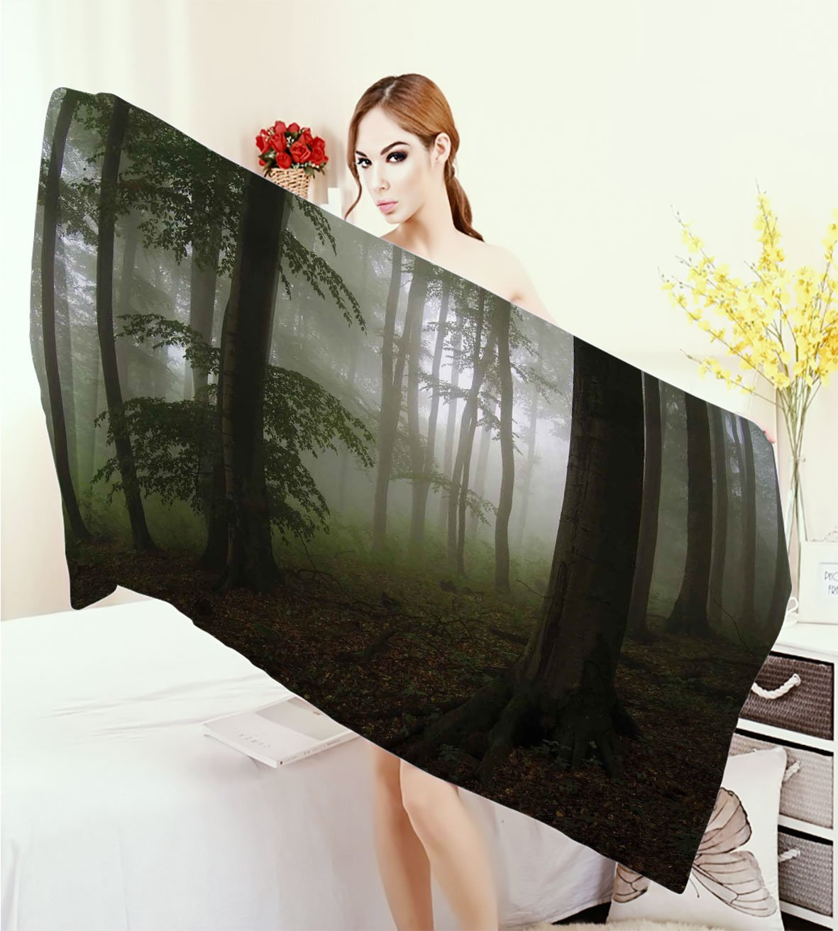 warmfamily Forest Customized bath Towels Mysterious Woods with Fog Wilderness Rural Untouched Vegetation Transylvania Print fancy towels White Green Brown