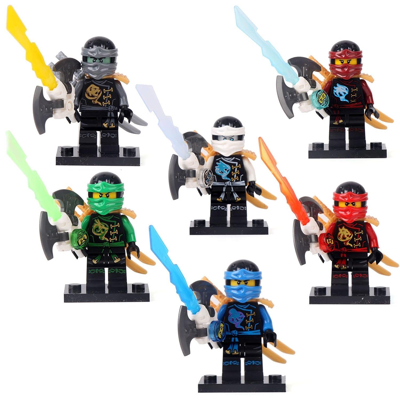 Amazon.com : 6 Bulk Ninja Mini figures Ninjago Cloe Zane Jay ...