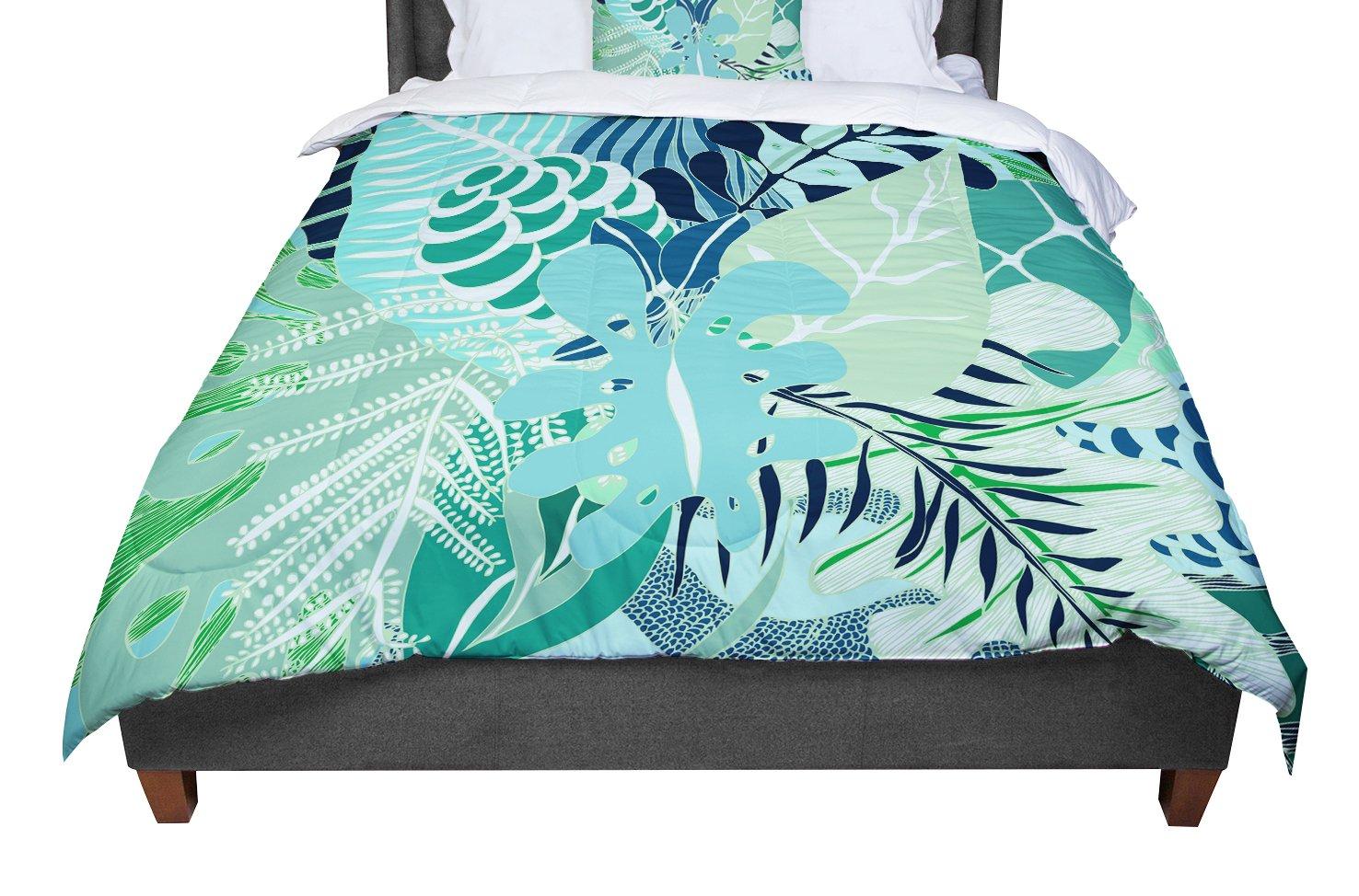 KESS InHouse Anchobee Giungla Green Floral King 104 X 88 Cal King Comforter