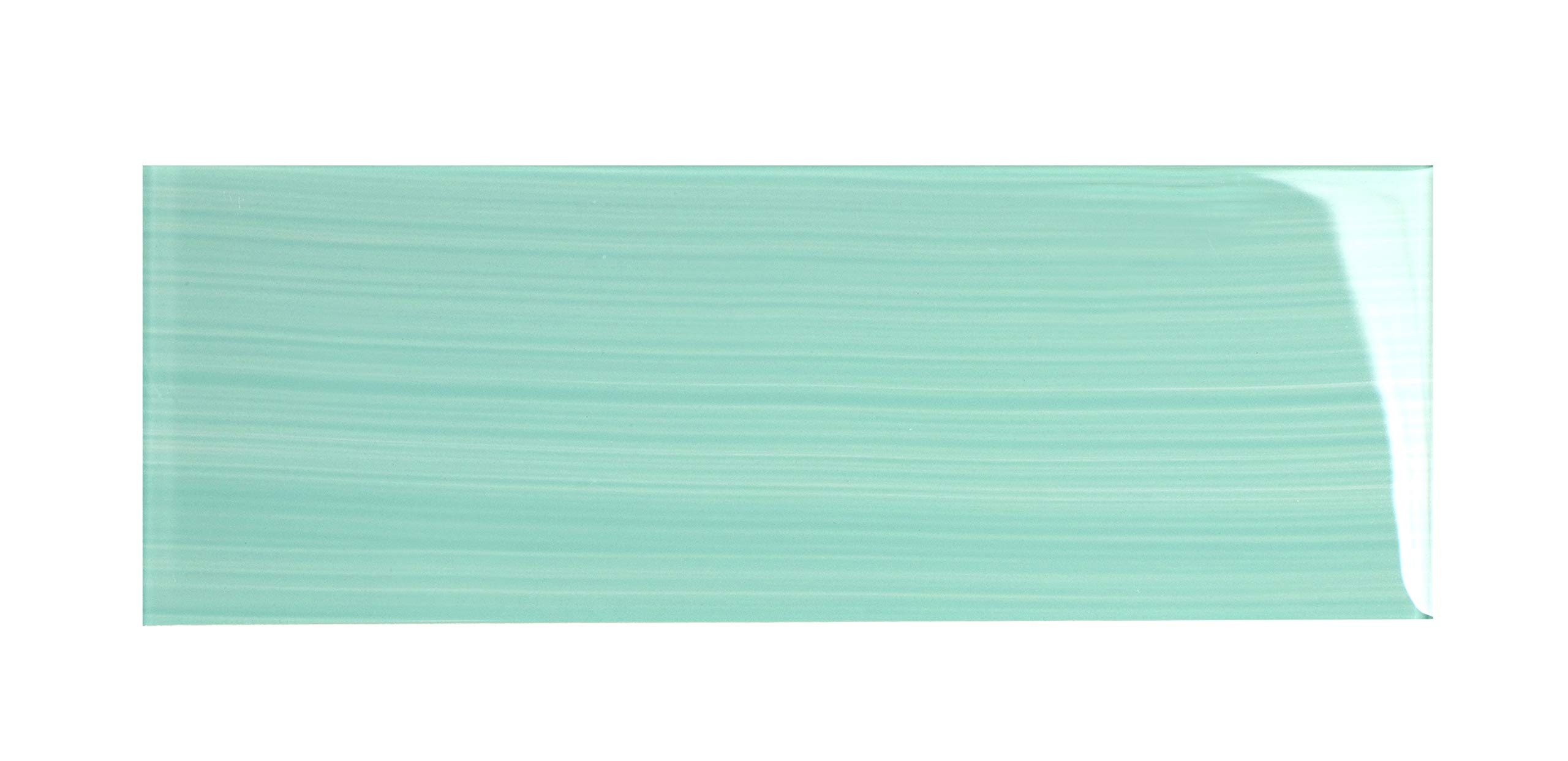 Glass Subway Backsplash Tile Bambu Hand Painted Series for Kitchen and Bathroom by WS Tiles - WST-06PH (4'' x 12'' Individual 5 SqFt, Light Teal)